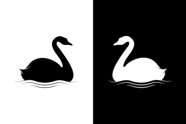 Лебедь силуэт Premium векторы