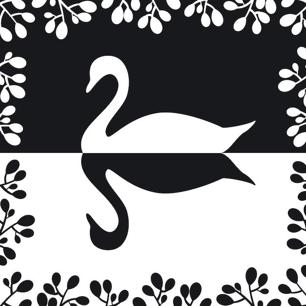 Силуэт лебедя Бесплатные векторы