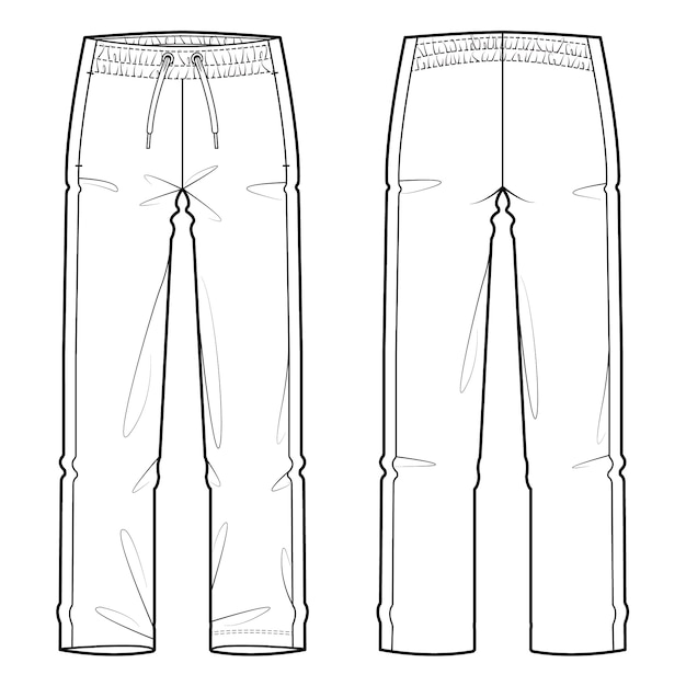 Sweat pants fashion flat sketch template Premium Vector