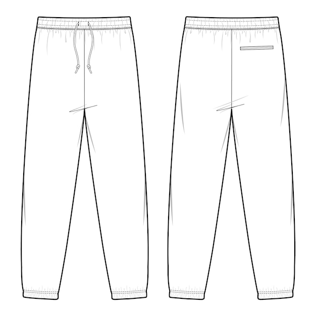 Sweat pants fashion flat sketch template Premium Vector