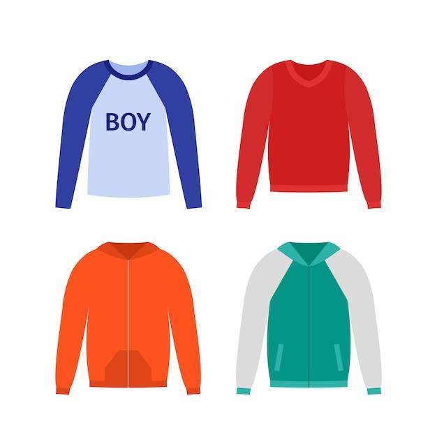 男の子用のセーター。 。ベビージャンパー。子供のプルオーバー、パーカーは、白で隔離。服のアイコン。漫画イラスト。カジュアルな子供モデル。衣類セット、フラット。アパレルスケッチ。衣服のシルエット Premiumベクター