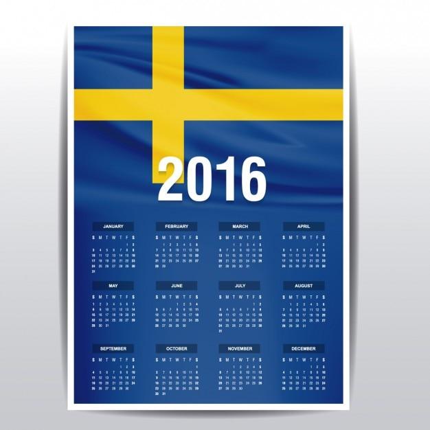 Sweden calendar of 2016 Free Vector