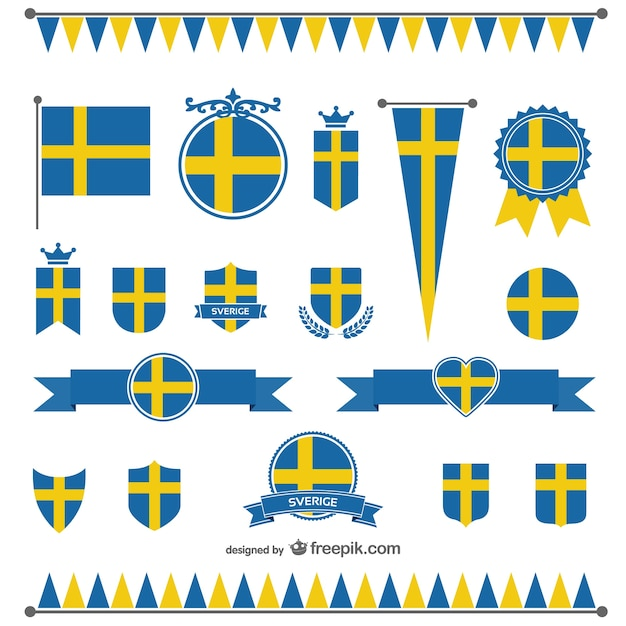 Sweden Flag Badges And Ribbons Vector Free Download