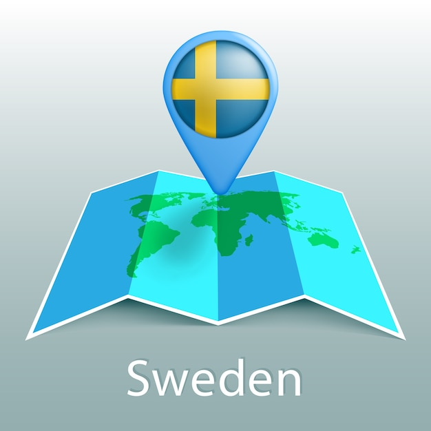 Sweden flag world map in pin with name of country on gray background Premium Vector