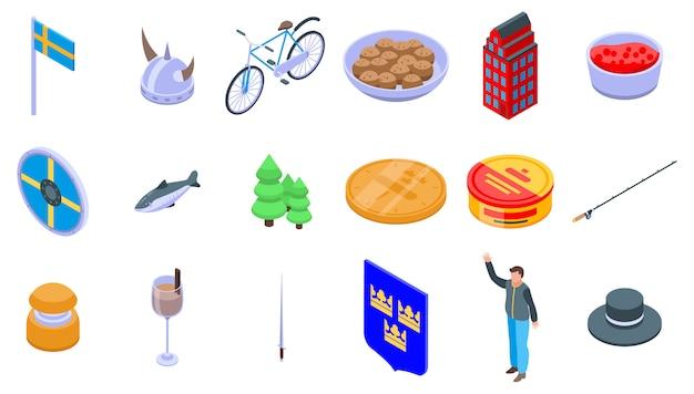 Sweden icons set Premium Vector