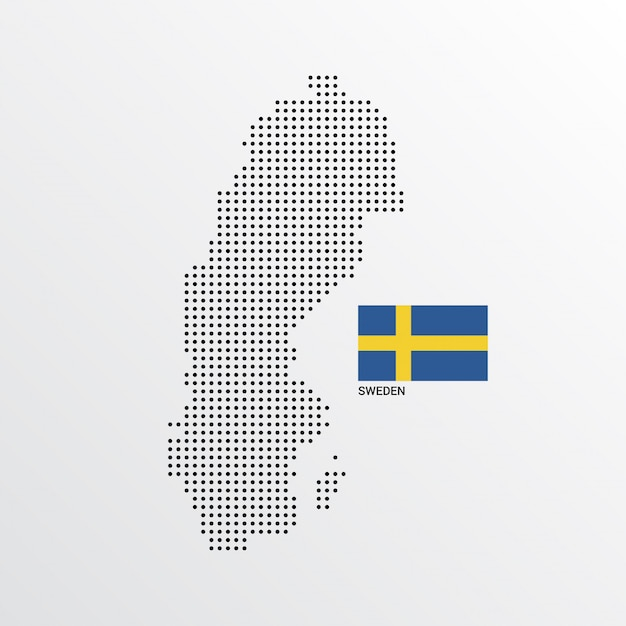 Sweden map design with flag and light background vector Free Vector
