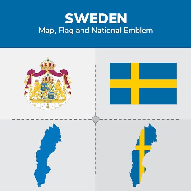 Sweden map, flag and national emblem Premium Vector