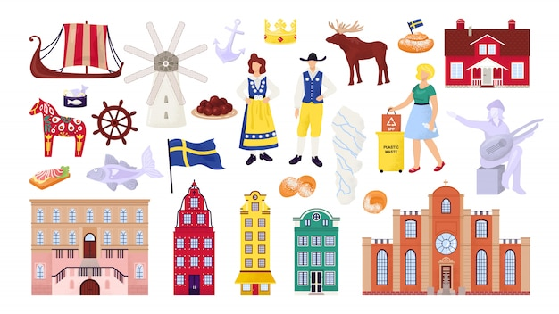 Sweden symbols set with stockholm city buildings, sightseeings and landmarks, swedes people  illustrations. scandinavian culture, nordic ship, map and flag, travel souvenirs. Premium Vector