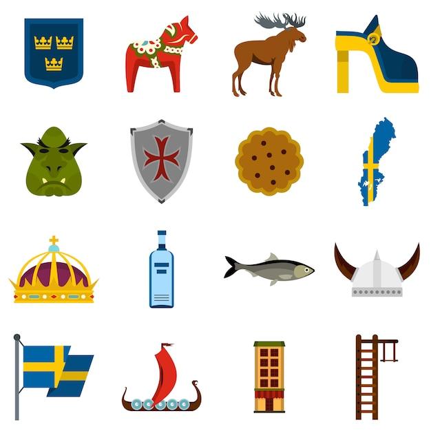 Sweden travel set flat icons Premium Vector