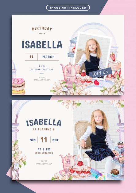 Шаблон приглашения на день рождения на тему сладости и выпечки Premium векторы
