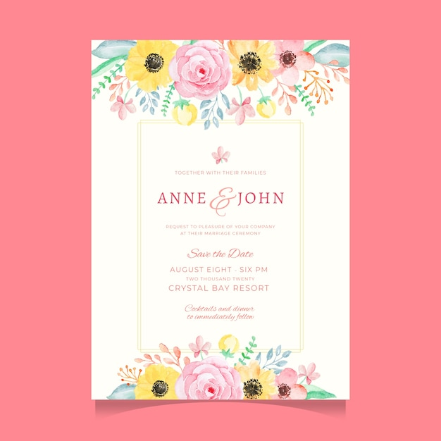 Sweet and Colorful Watercolor Flower Wedding Invitation Template ...