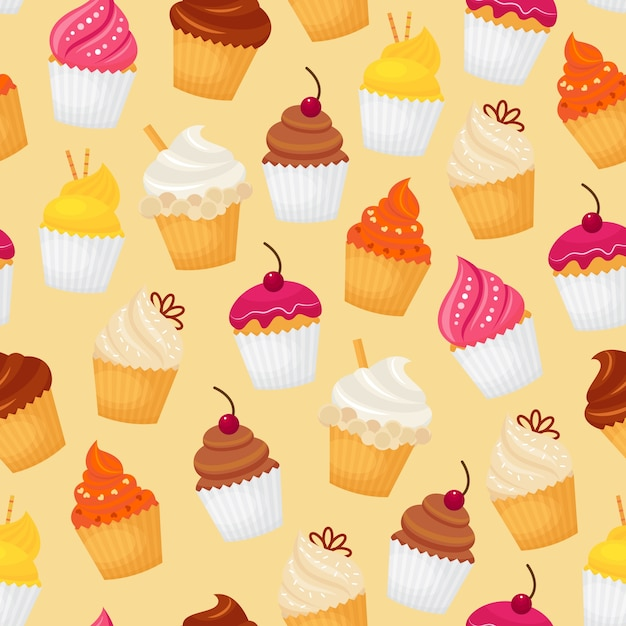 Sweet and tasty food dessert cupcake seamless pattern vector illustration Free Vector