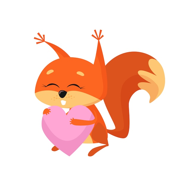 Sweet baby squirrel holding pink heart Free Vector