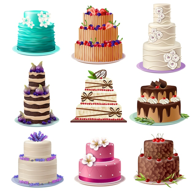 Sweet baked cakes set Free Vector