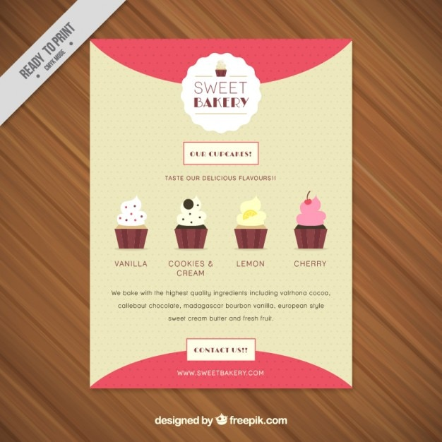 Sweet Bakery Flyer With Kind Of Cupcakes Vector Free Download - Bakery flyer templates free