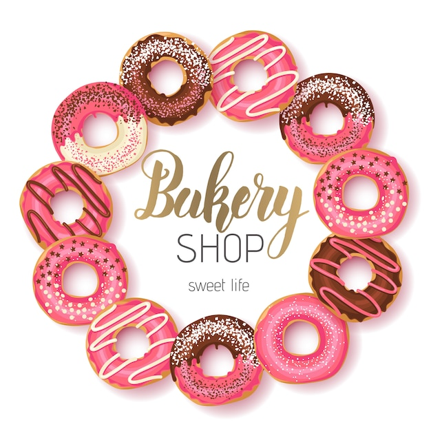 Sweet bakery shop frame with glazed pink and chocolate donuts and hand made lettering Premium Vector