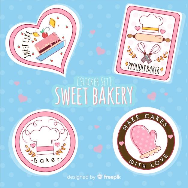 Sweet bakery sticker set Free Vector