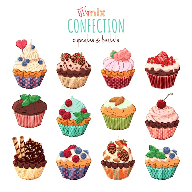Sweet baskets and cupcakes with cream decorated with berries and chocolate. Premium Vector