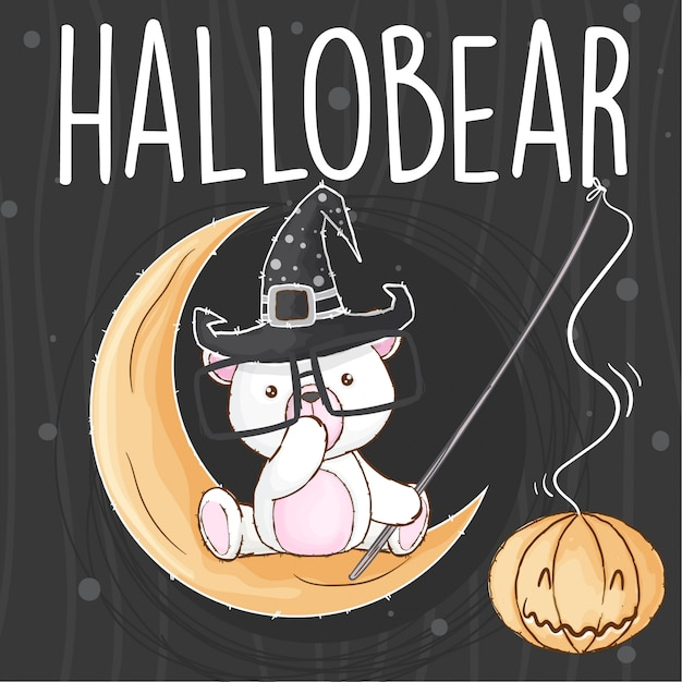 Sweet bear halloween hand drawn animal-vector Premium Vector