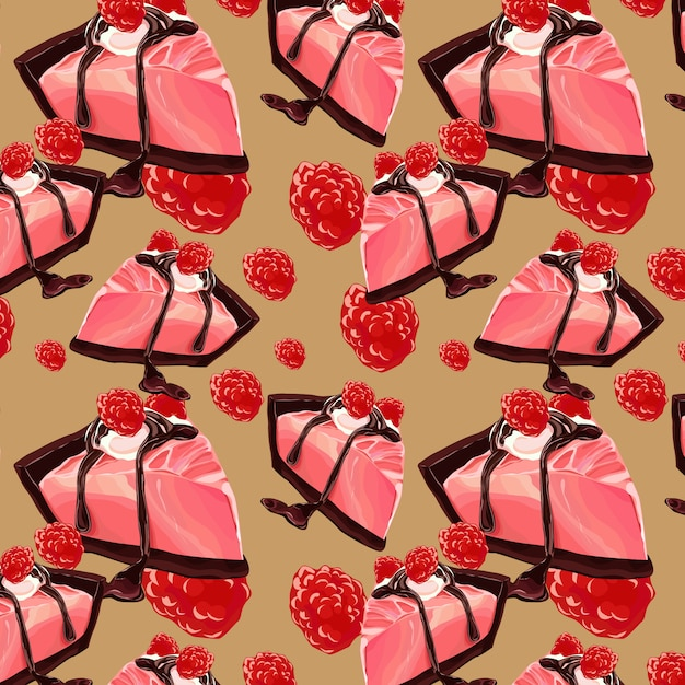 Sweet berry and chocolate cake seamless pattern design Premium Vector