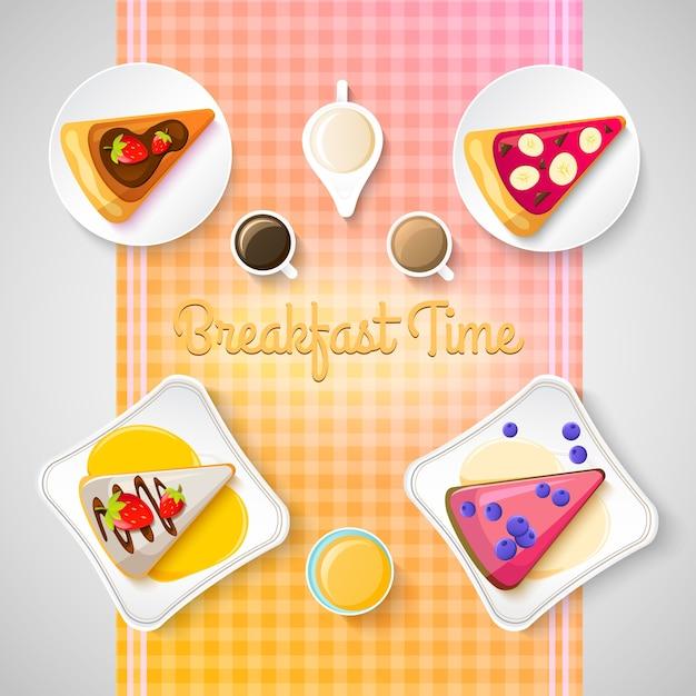 Modello di colazione dolce con pezzi di gustosa torta e diversi ingredienti sull'illustrazione blu Vettore gratuito