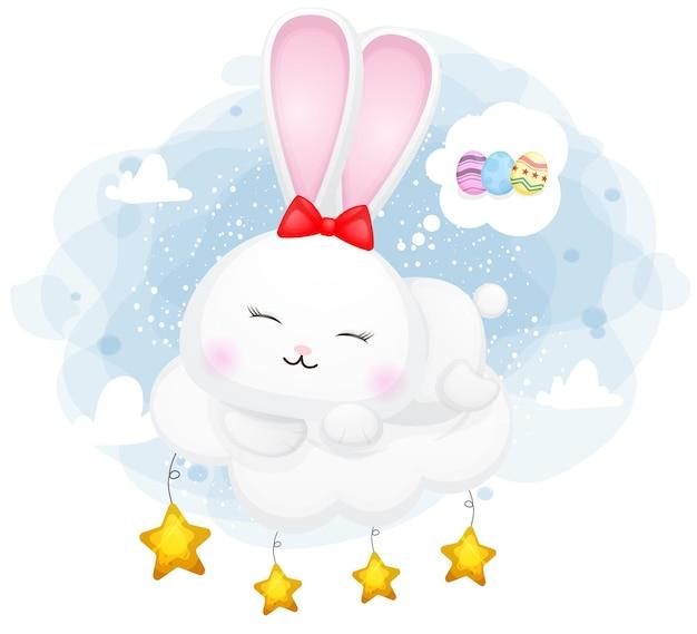 Сладкий кролик спит на облаке и счастливый сон premium векторы Premium векторы