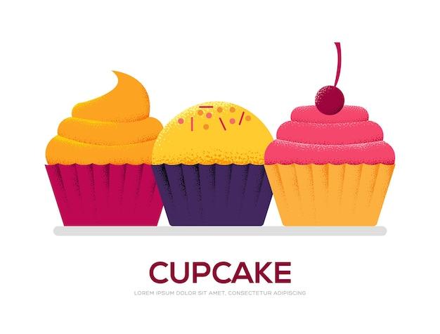 Концепция сладкого торта на белом фоне иллюстрации. текстурированный стиль художественного зерна Premium векторы