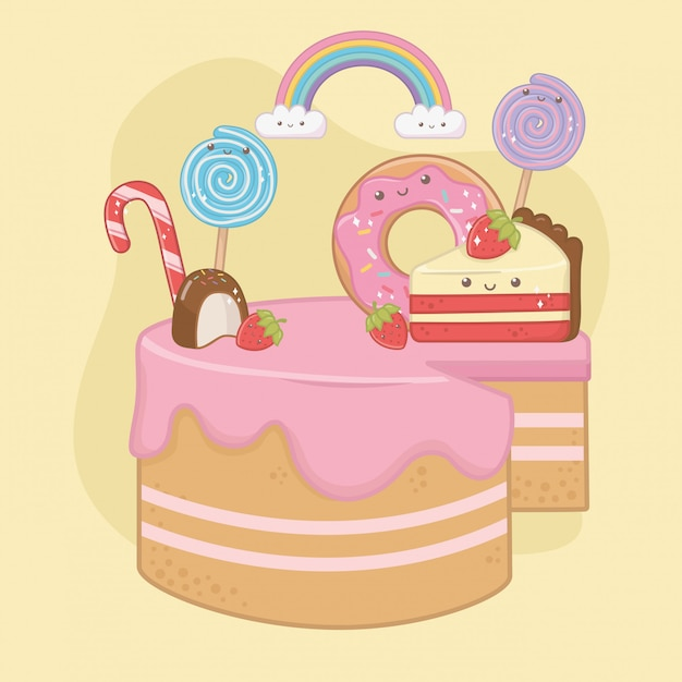 Sweet cake of strawberry cream with kawaii characters Free Vector