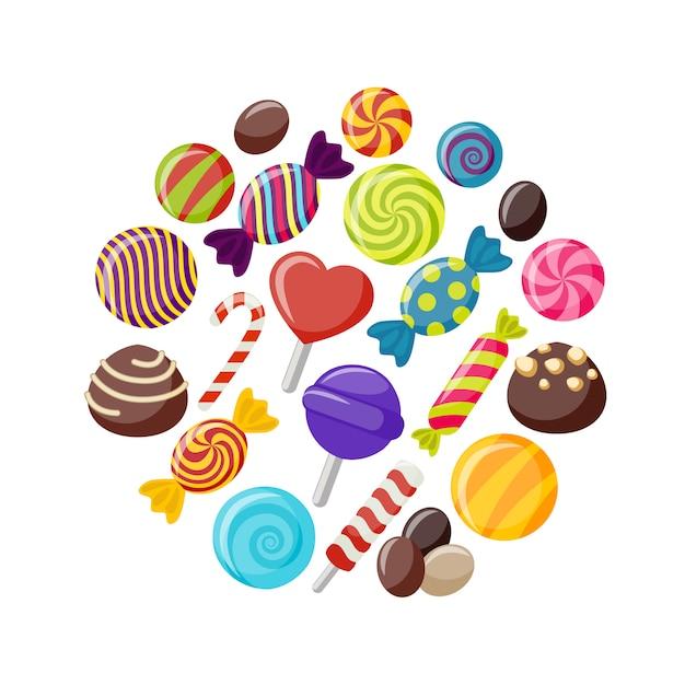 Insieme di elementi piatto di caramelle dolci Vettore gratuito