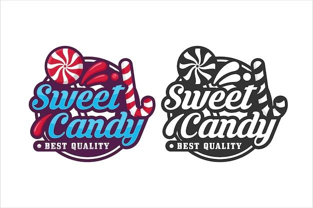 Sweet candy design logo premium Premium Vector