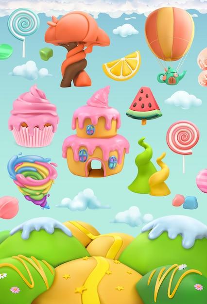Sweet candy land, 3d vector objects set. plasticine art illustration Premium Vector
