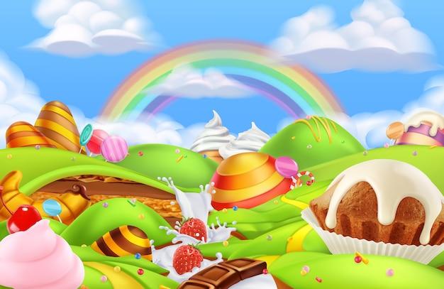 Sweet candy land illustration background Premium Vector