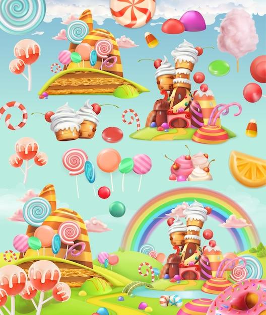 Sweet candy land illustration set Premium Vector