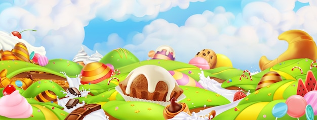 Sweet candy land. panorama landscape background Premium Vector