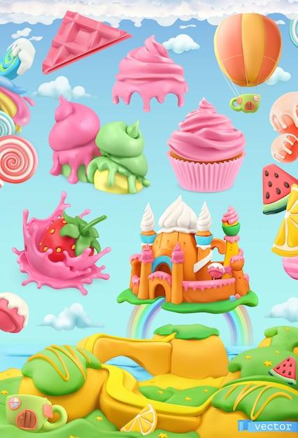 Sweet candy land, pastry shop, plasticine art, vector illustration Premium Vector