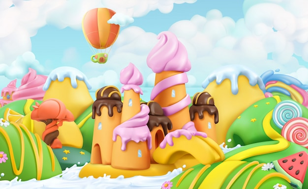 甘いお菓子の土地、ペストリーショップ、ベクトルの漫画 Premiumベクター