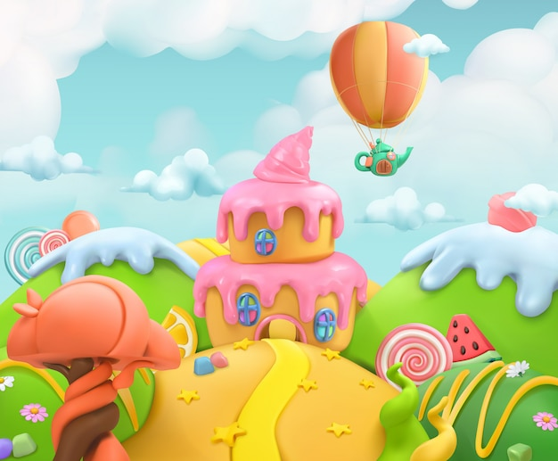 Sweet candy land, vector plasticine art illustration Premium Vector