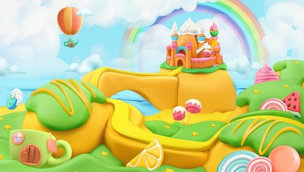 甘いお菓子の風景、ベクトル粘土アートイラスト Premiumベクター
