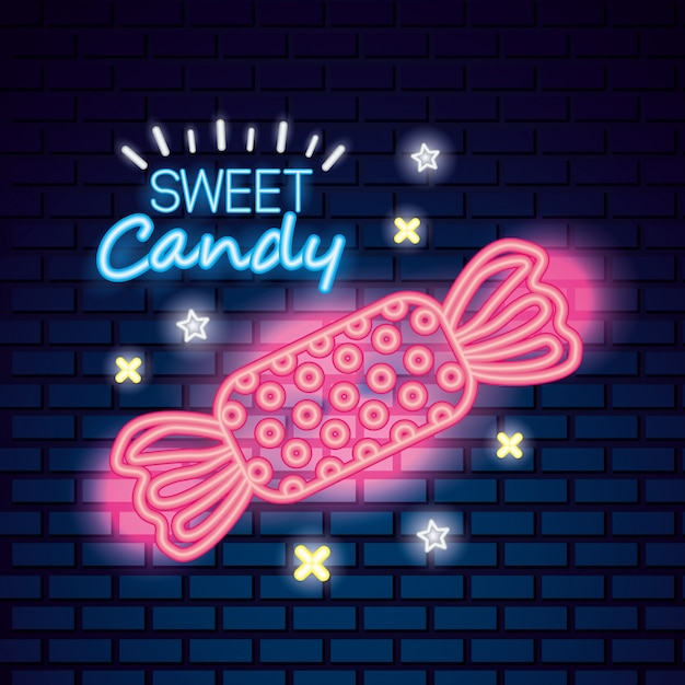 Sweet candy neon Free Vector