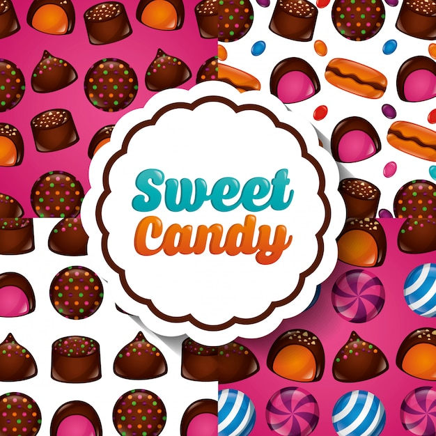 Sweet candy pattern Free Vector