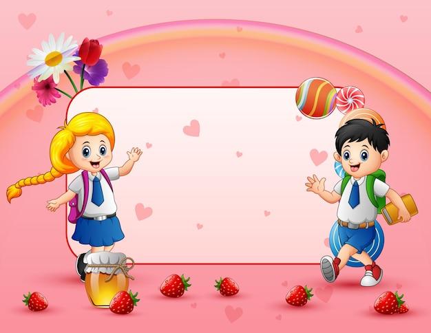 制服を着た幸せな学校の子供たちとの甘いカード Premiumベクター