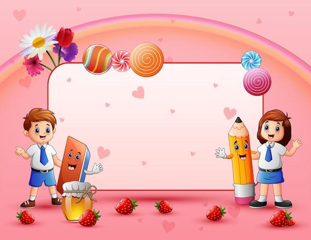 幸せな学童との甘いカード Premiumベクター