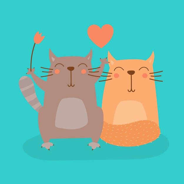 恋人のベクトルイラストの甘い漫画の猫 Premiumベクター