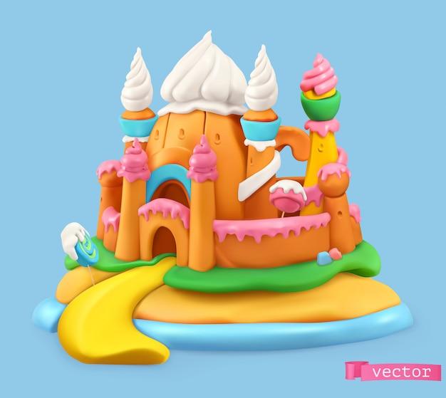 Sweet castle, cartoon vector object. plasticine art illustration Premium Vector