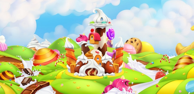 Sweet castle with panorama landscape Premium Vector