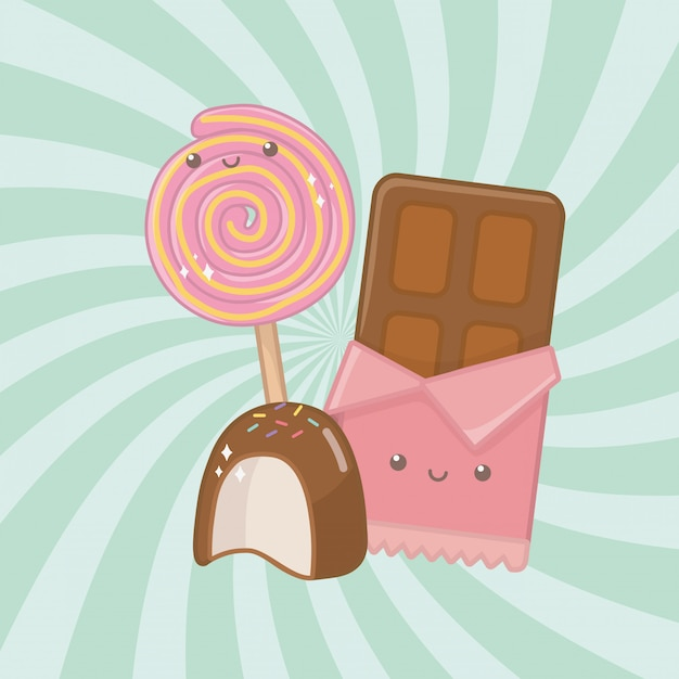 Sweet chocolate bar and candies kawaii characters Free Vector