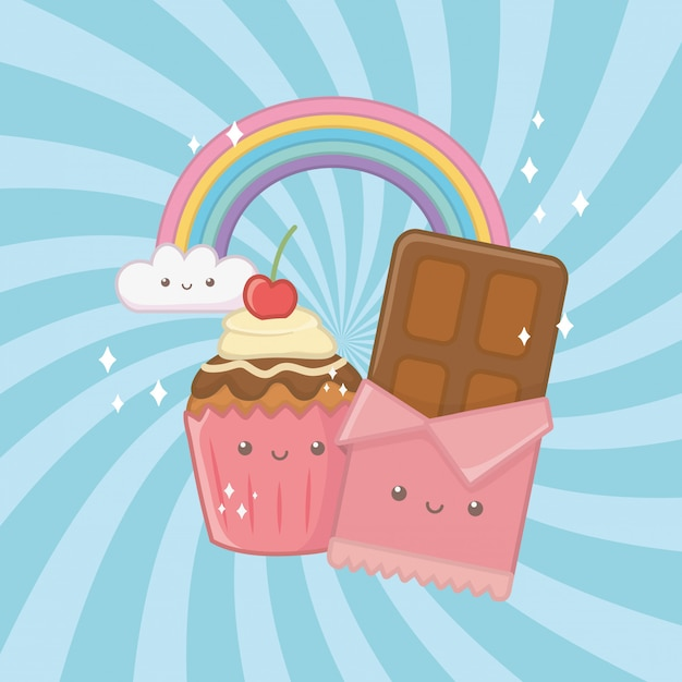 Sweet chocolate bar and candies kawaii characters Free Vector