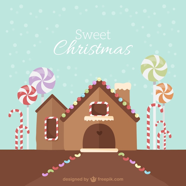 Christmas Gingerbread House Background.Sweet Christmas Gingerbread House Background Vector Free