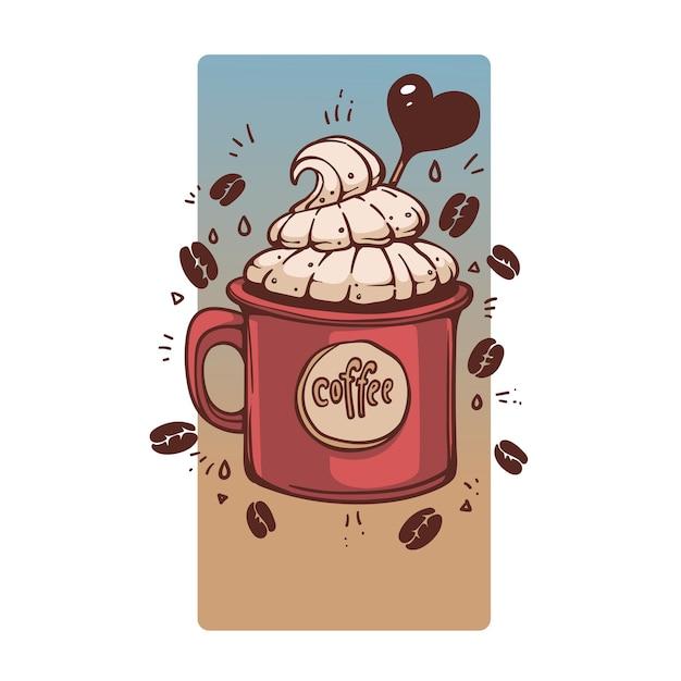 Сладкий кофе в кружке в стиле ретро, рисованной иллюстрации Premium векторы