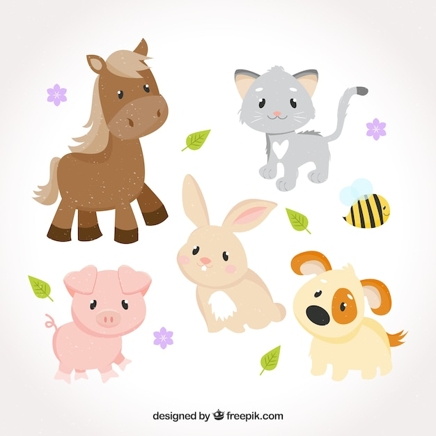Sweet collection of baby animals Free Vector